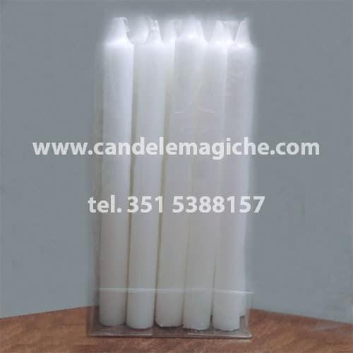 confezione 10 pezzi di candele cilindriche bianche