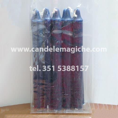 confezione 10 candele cilindriche blu