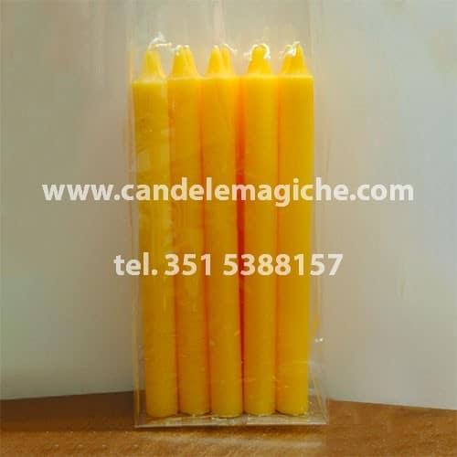 confezione 10 pezzi di candele cilindriche gialle