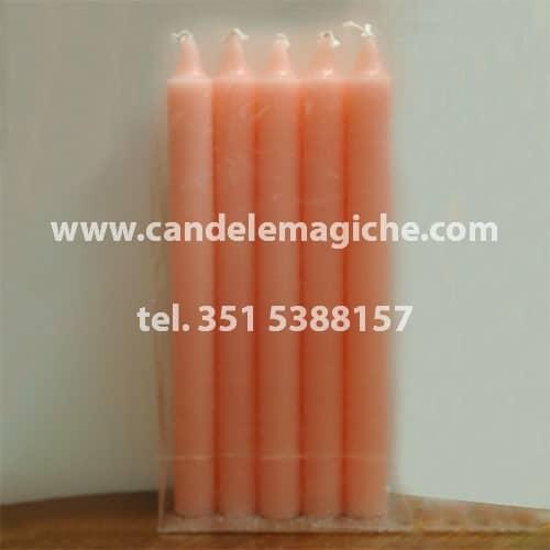 confezione 10 pezzi di candele cilindriche di colore rosa
