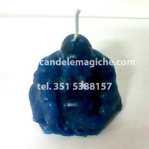 candela a forma di buddha di colore blu