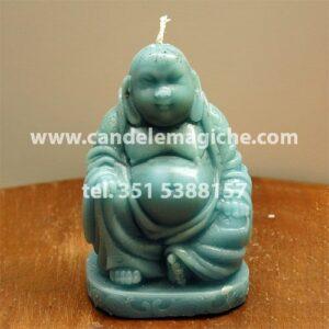 candela a forma di buddha in cera celeste