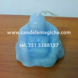 candela a forma di buddha di colore celeste