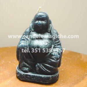 candela a forma di buddha in cera nera
