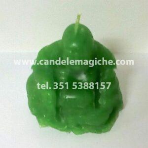 candela a forma di buddha di colore verde