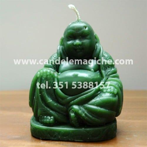 candela a forma di buddha in cera verde