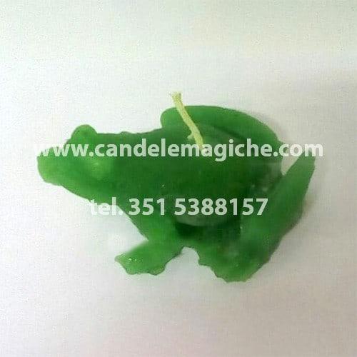 candela a forma di rospo di colore verde
