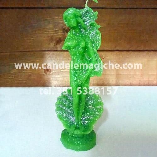 candela a forma di statua di venere di colore verde