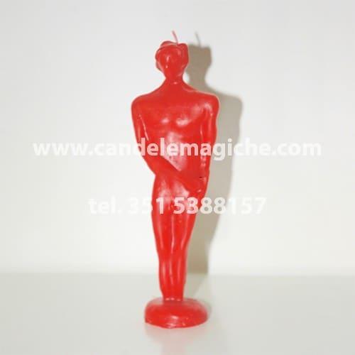 candela raffigurante la statuetta di uomo di colore rosso