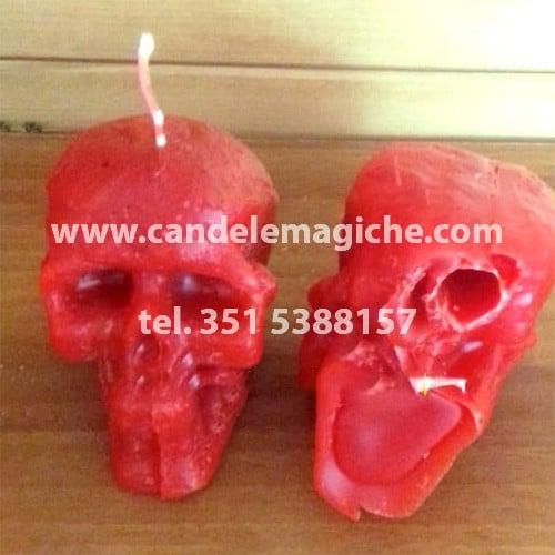 candela a forma di teschio exu cabesas con foro per inserire i testimoni
