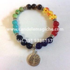 braccialetto sette chackra con ciondolo dell'albero dell'abbondanza