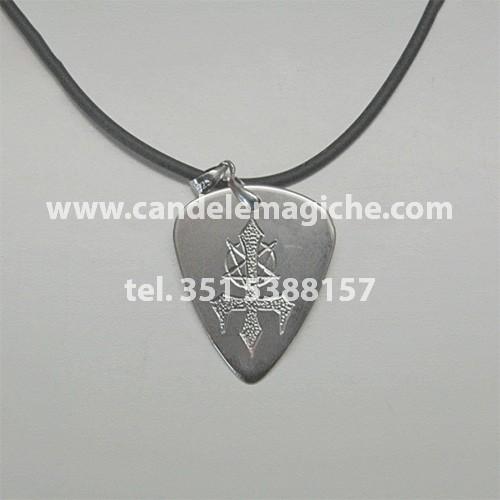 ciondolo con medaglia e talismano di baphomet in argento