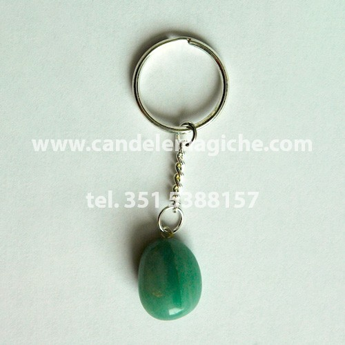 Portachiavi con pietra amazzonite burattata di colore verde