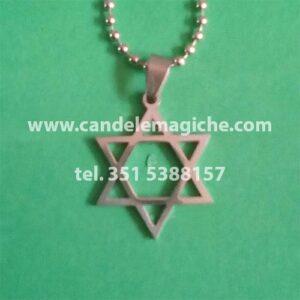 talismano stella di david o sigillo di salomone in acciaio