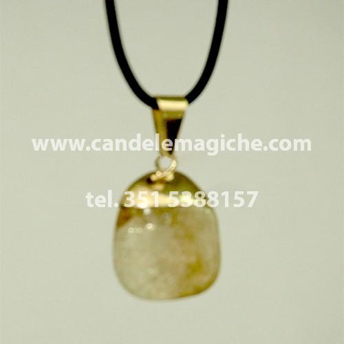 ciondolo portafortuna con pietra al quarzo citrino per il segno del leone