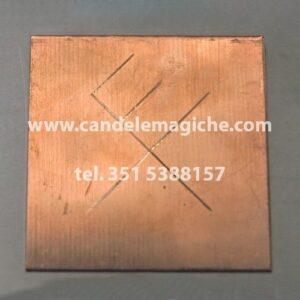 talismano in rame con inciso quadrato magico gibu auja