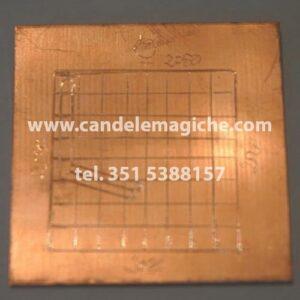 talismano in rame con inciso in quadrato magico di mercurio
