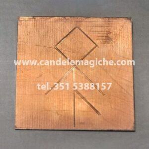 talismano runico in rame con quadrato magico per avere aiuto nelle imprese