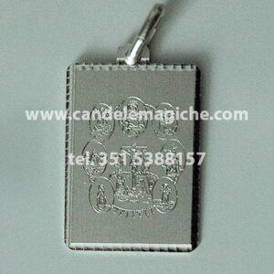 talismano medaglia in argento con scudo delle sette potenze africane