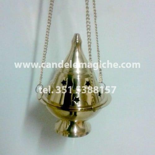 incensiere di colore metallo dorato con catenella