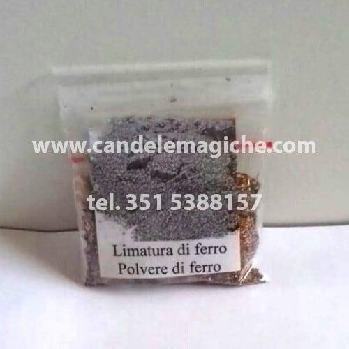bustina di polvere di limatura di ferro