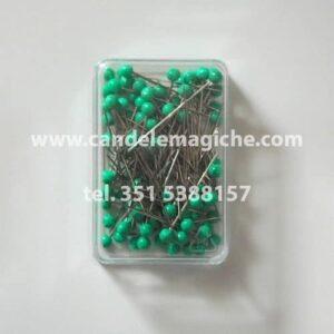 confezione di spilli con capocchia verde