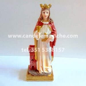 statuetta di santa barbara in resina