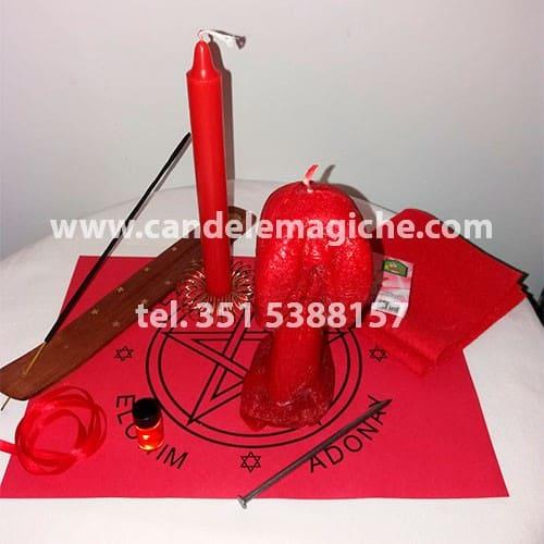 kit per il legame di sesso con la candela pene-vagina rossa